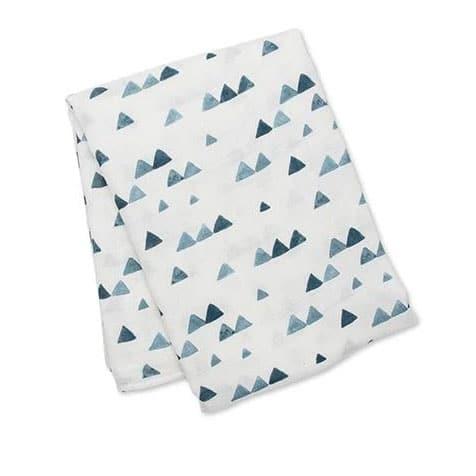 Coffret lange et bonnet Triangles bleus