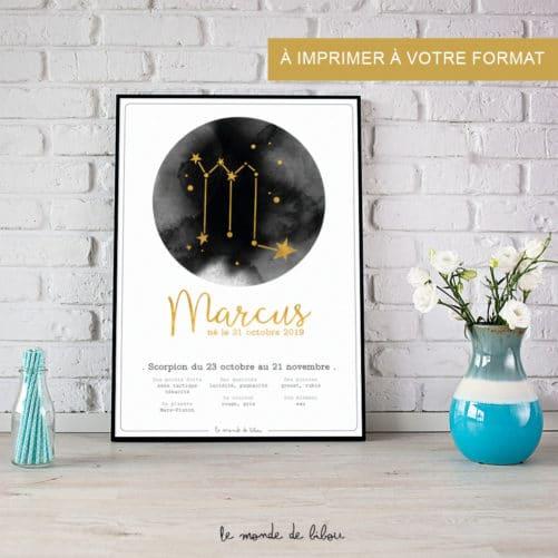 Affiche Prénom Zodiaque Scorpion imprimable