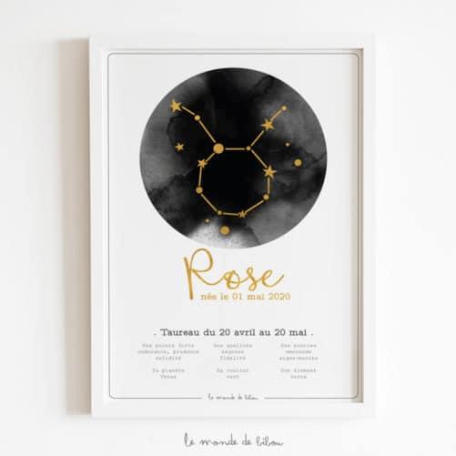 Affiche Prénom Zodiaque Taureau