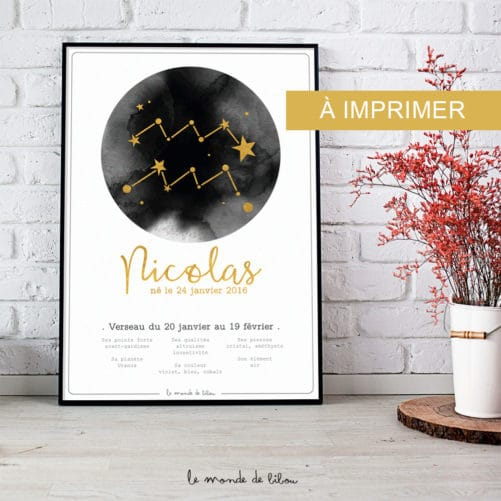 Affiche Prénom Zodiaque Verseau imprimable