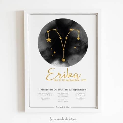 Affiche Prénom Zodiaque Vierge