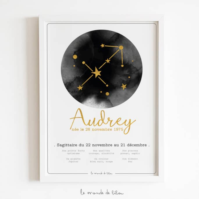 Affiche Prénom Zodiaque Sagittaire