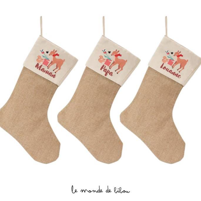 Chaussette de Noël animaux de la forêt