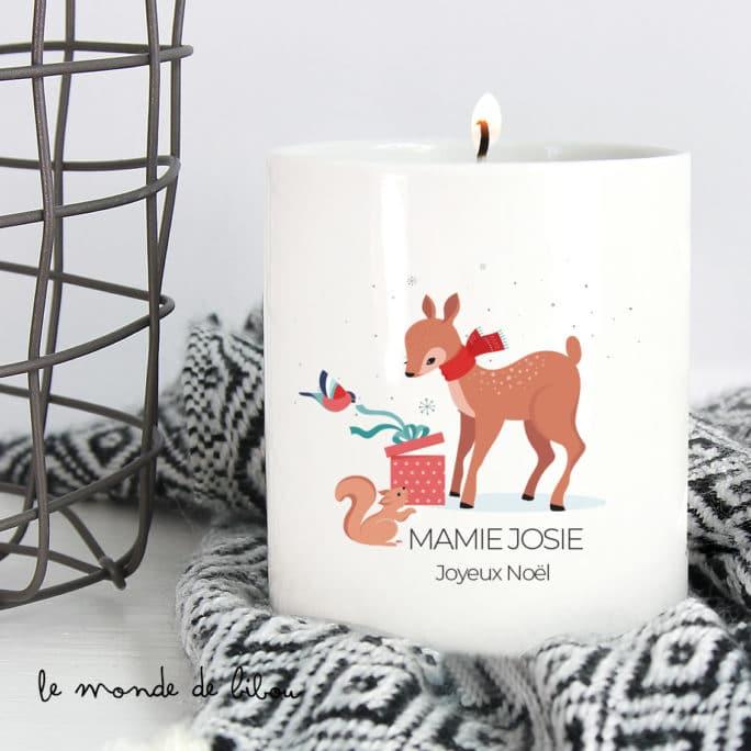 Bougie de Noël animaux de la forêt