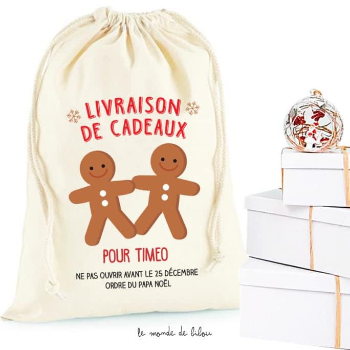 Hotte de Noël taille M bonhomme pain d'épice
