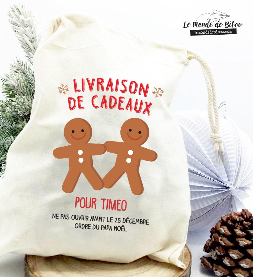 Hotte de Noël taille S bonhomme pain d'épice