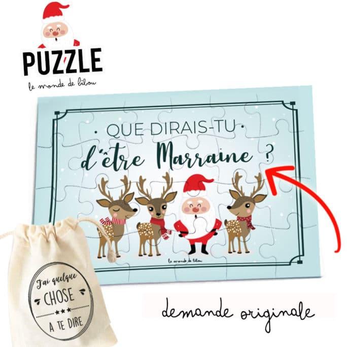 Puzzle de Noël demande marraine ou parrain