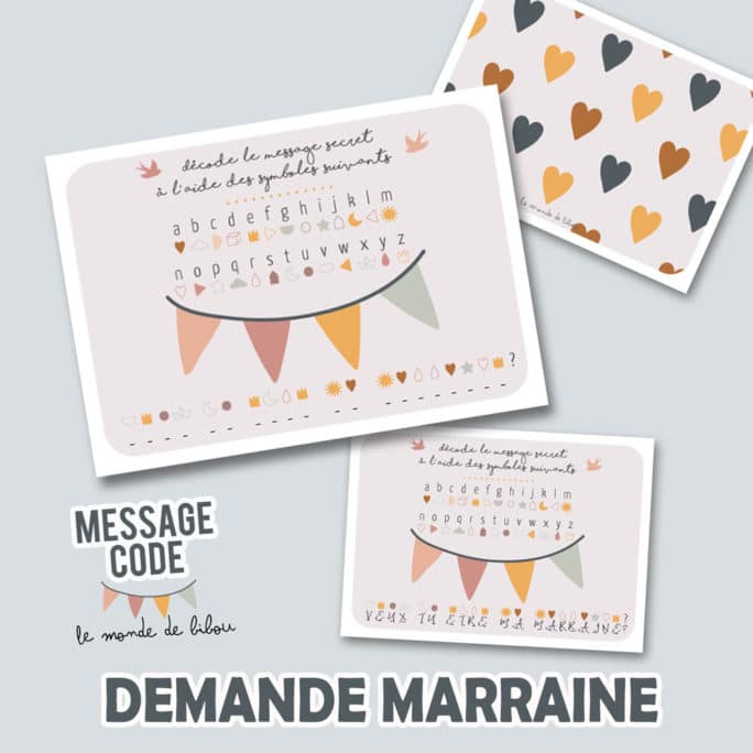 Carte message codé Marraine
