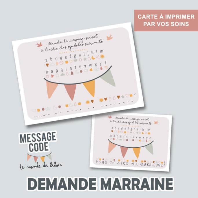 Carte message codé Marraine à imprimer