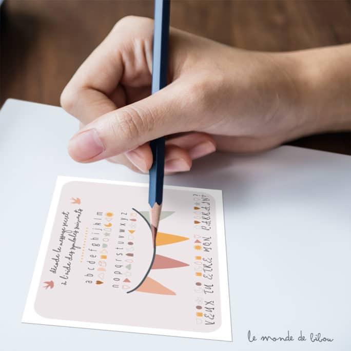 Carte message codé Parrain