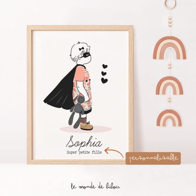 Affiche Prénom Super héroïne personnalisée