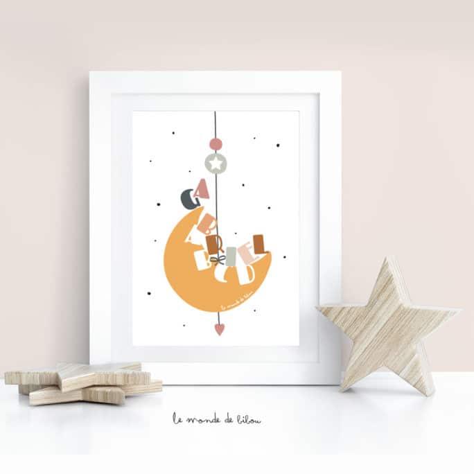 Affiche Prénom personnalisable lunaire