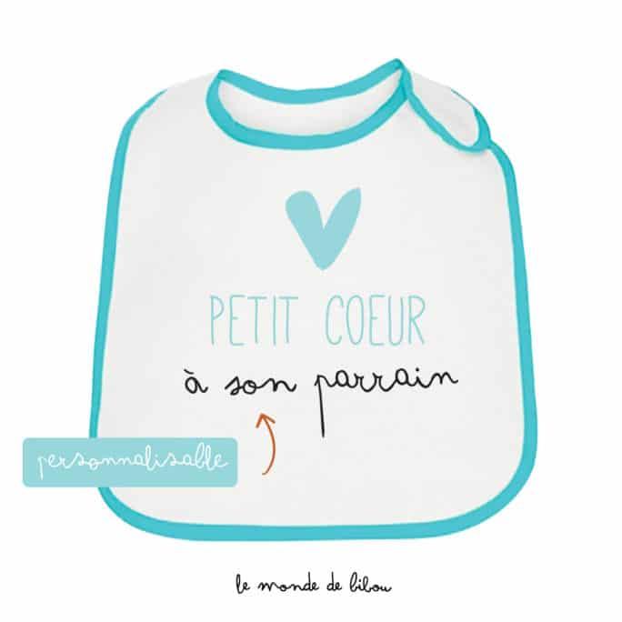 Bavoir personnalisable Petit cœur bleu