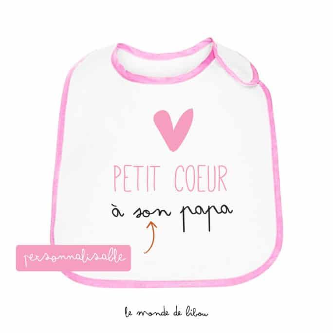 Bavoir personnalisable Petit cœur rose