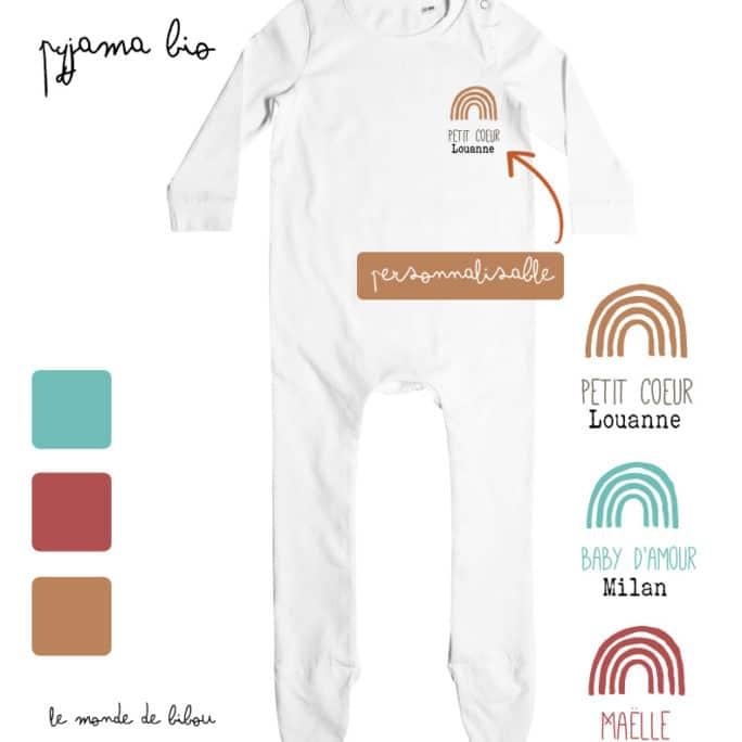 Pyjama bébé Arc-en-ciel personnalisable