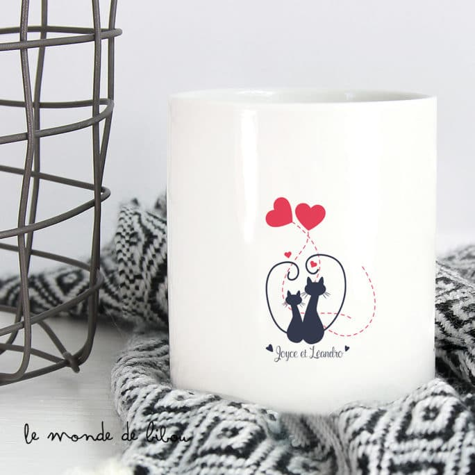 Bougie personnalisée Chats amoureux