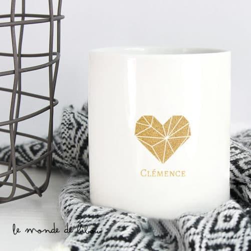 Bougie personnalisée Cœur doré