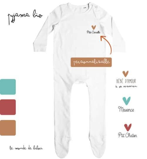 Pyjama bébé Petit cœur personnalisable