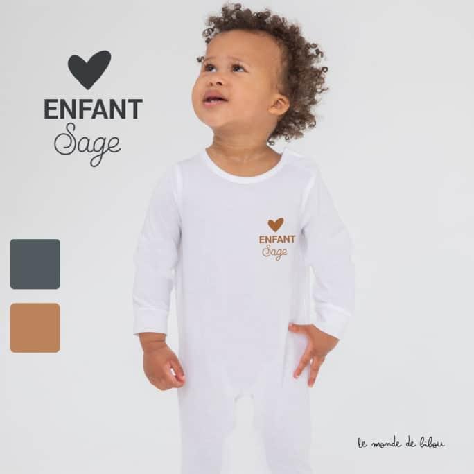 Pyjama bébé Enfant sage cœur