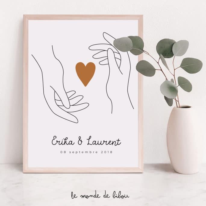 Affiche personnalisée Mains sur le cœur