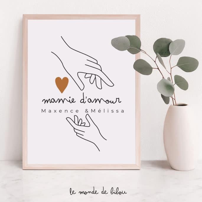 Affiche personnalisée Mamie d'amour