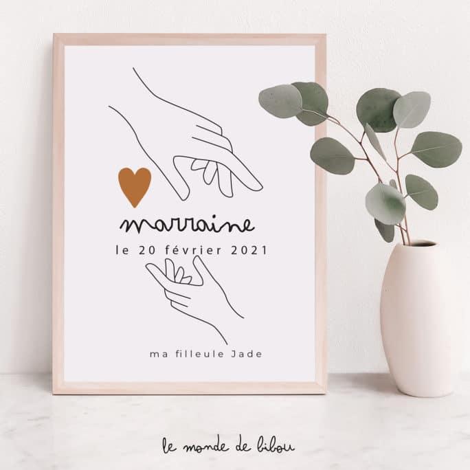 Affiche Marraine personnalisée Mains sur le cœur