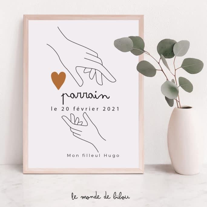 Affiche Parrain personnalisée Mains sur le cœur