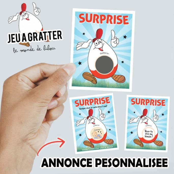 Ticket jeu œuf surprise à gratter