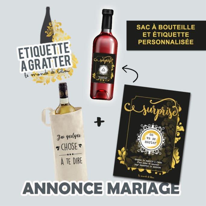 Sac et Étiquette de vin à gratter Annonce mariage