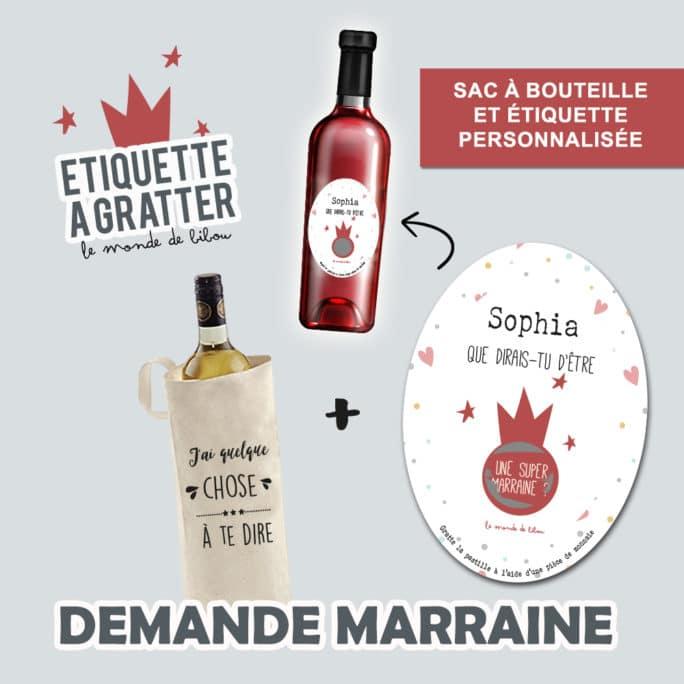 Sac et Étiquette de vin à gratter Demande marraine ovale