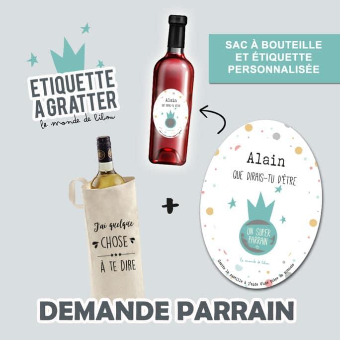 Sac et Étiquette de vin à gratter Demande parrain ovale