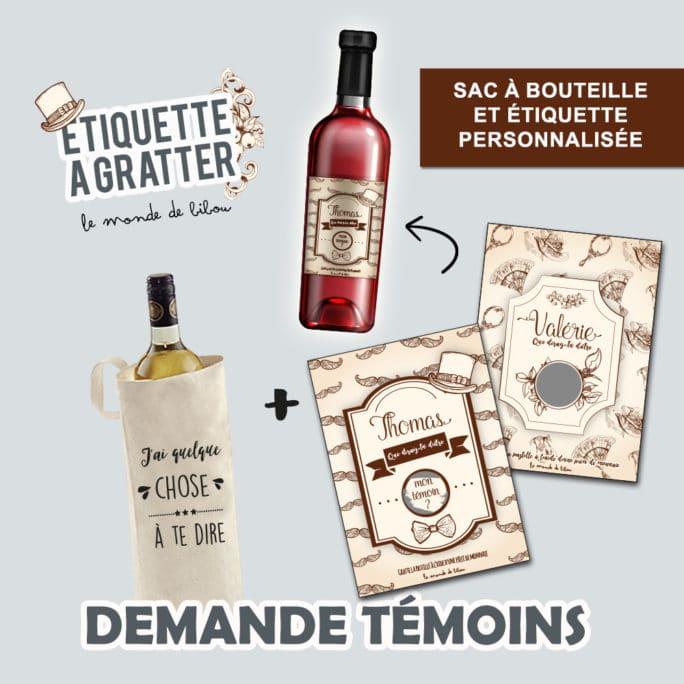 Sac et Étiquette de vin à gratter Demande témoins