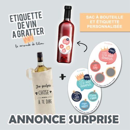 Sac et Étiquette à Bouteille Annonce surprise