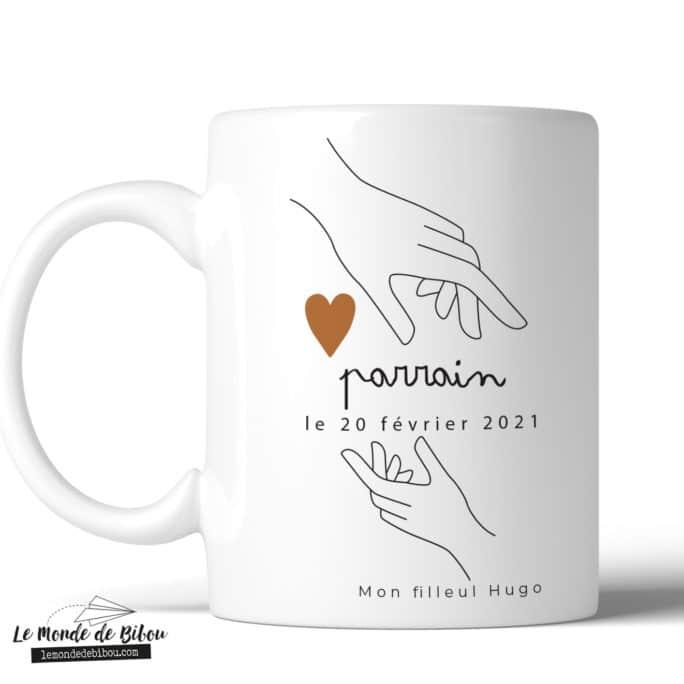 Mug personnalisable Parrain Mains sur le cœur