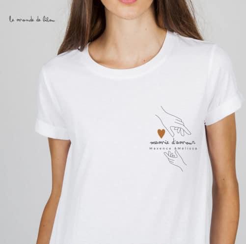 T-shirt personnalisé Mamie d'amour