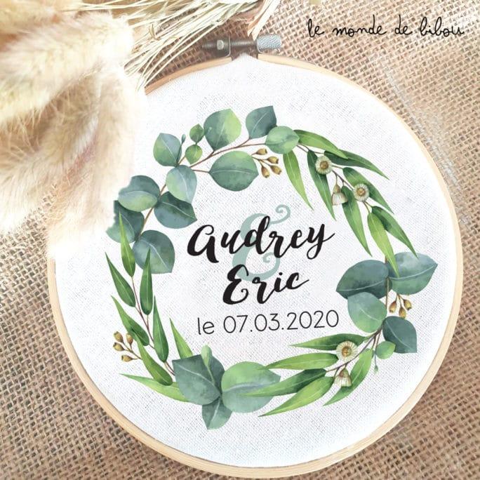 Cadre tambour Mariage Couronne d'Eucalyptus