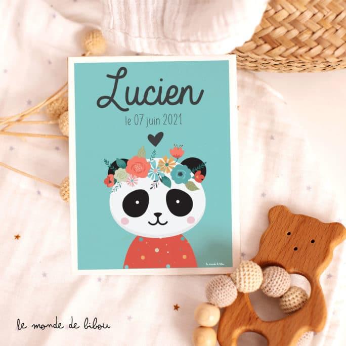 Affiche Prénom Panda personnalisée