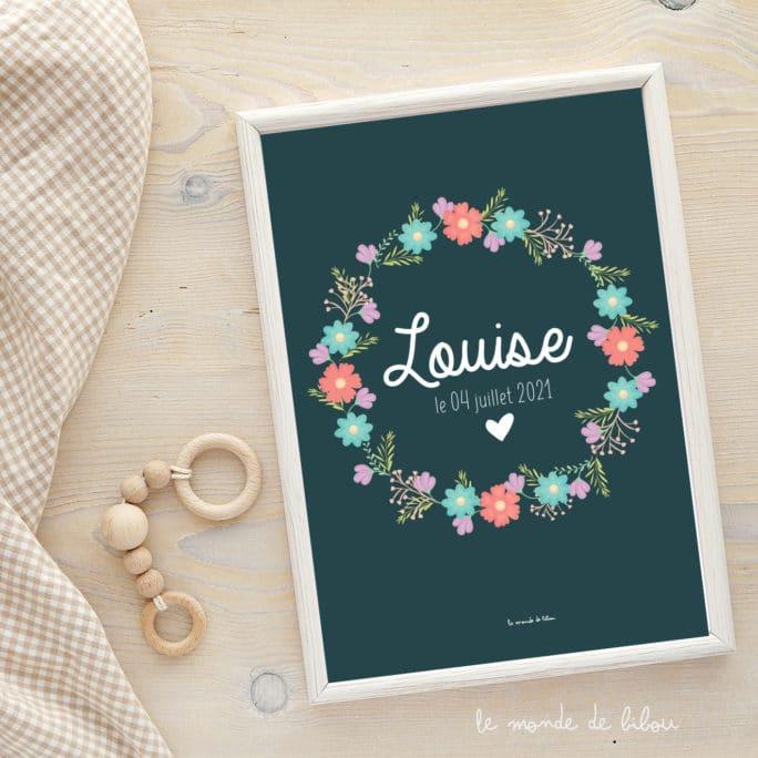 Affiche Prénom Couronne de fleurs