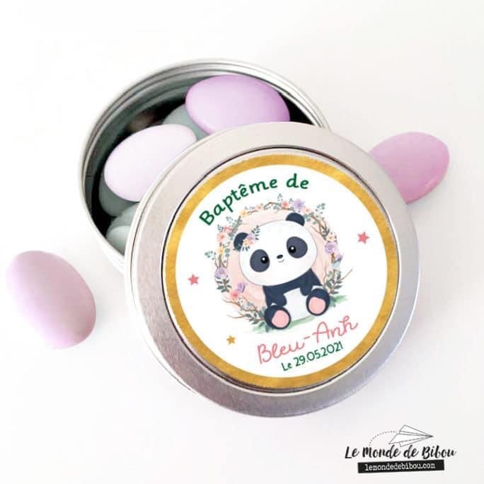 Boîte dragées panda couronne de fleurs