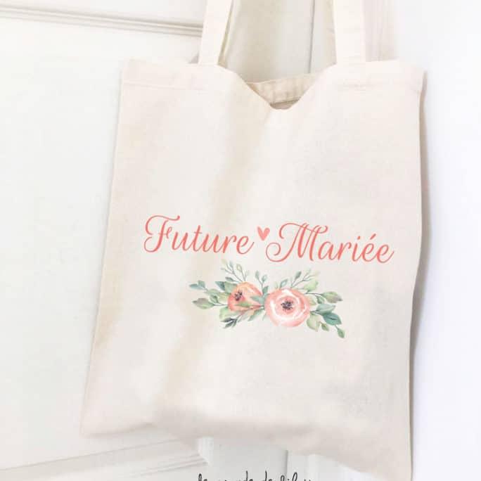 Tote bag EVJF future mariée Fleurs