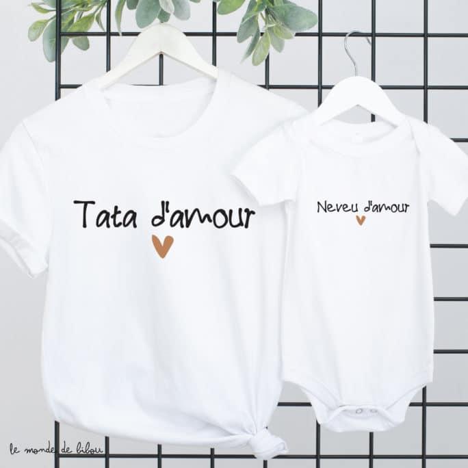 Duo T-shirts Tata Neveu Nièce d'amour