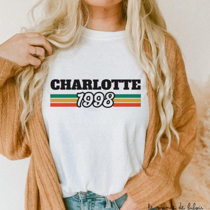 T-shirt adulte femme année de naissance