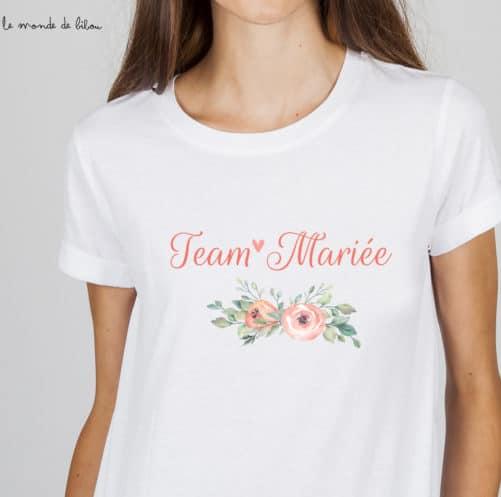 T-shirt EVJF Team Mariée Fleurs