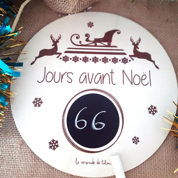 Plaque en bois Décompte de Noël