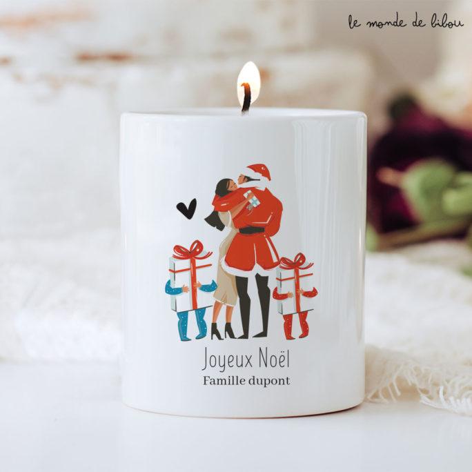 Bougie de Noël personnalisée Famille