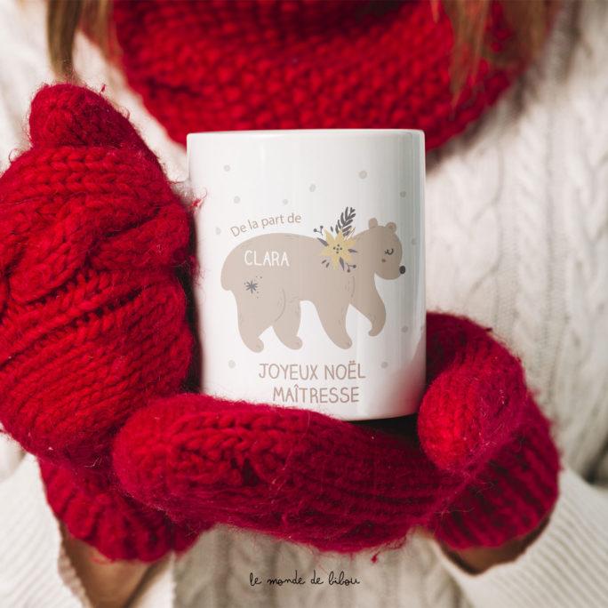 Mug Ours de Noël personnalisé