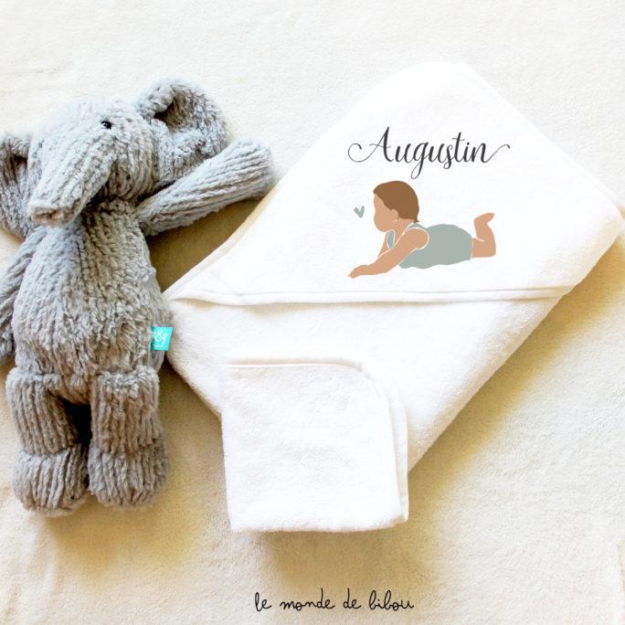 Cape de bain illustration bébé garçon